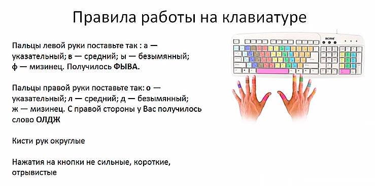 Правила работы на клавиатуре