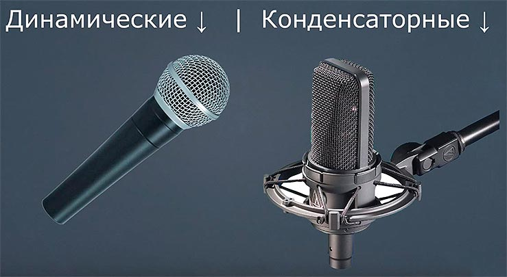 конденсаторный и динамический микрофон